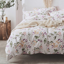 Modern style small fresh cotton four-piece cotton twill simple bedding bed lily quilt cover household items Cotton  bedding sets