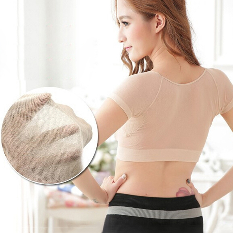 Women T-shirt Shape Sweat Pads Reusable Washable Underarm Armpit Sweat Pads Absorbent Deodorant Pad