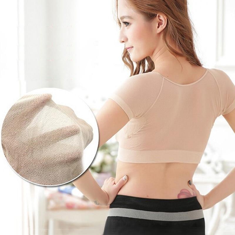 Women T-shirt Shape Sweat Pads Reusable Washable Underarm Armpit Sweat Pads Absorbent Deodorant Pad