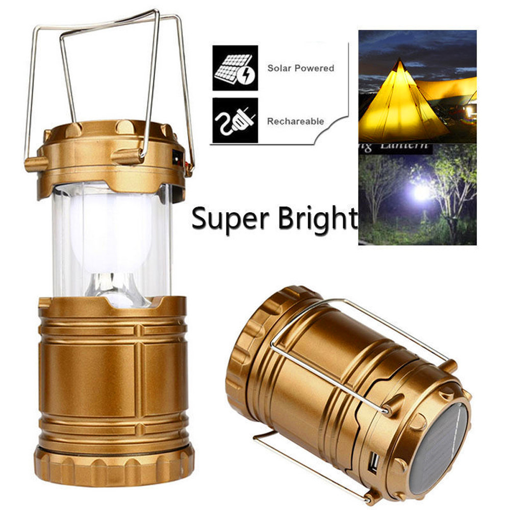 Portable Lighting Solar USB Charging Rechargeable Outdoor Camping Tent Lantern Light 6 LED Lamp Outdoor Equipment 2019