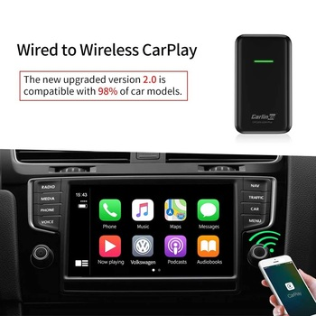 Adapter V 2.0 Wired to Wireless USB Activator Dongle for Cars Function :Online Music App, Phone Call, Screen Mirroring, iTunes image