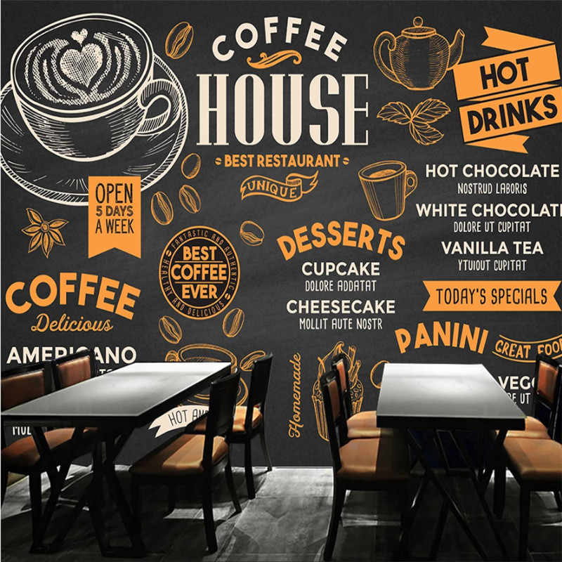 Hand Painted Coffee Theme Black