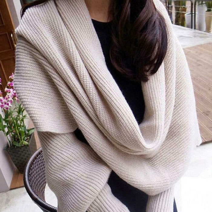 Beige - Knitted Wrap Scarf With Sleeves | GoInsShop
