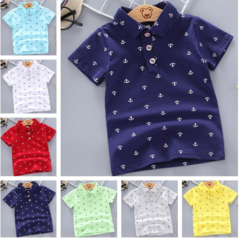 2020 Summer Baby Boys Polo Shirt Short Sleeve Anchor Lapel Clothes For Girls Odale Cotton Breathable Kids Tops Outwear 12M-5Y