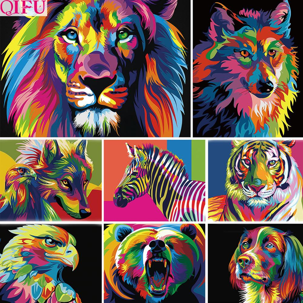 Animal Lion Tiger Wolf Zebra Adults Paints By Numbers Animals Pictures Oil Painting By Numbers Set Gift Coloring By Numbers(China)