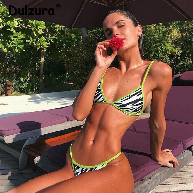 2020 Trend Zebra Print Bikini Set Womens Summer Sexy Hot Sale Lace Up High Cut Swimsuit Ins Patchwork Two Piece Swimwear Female