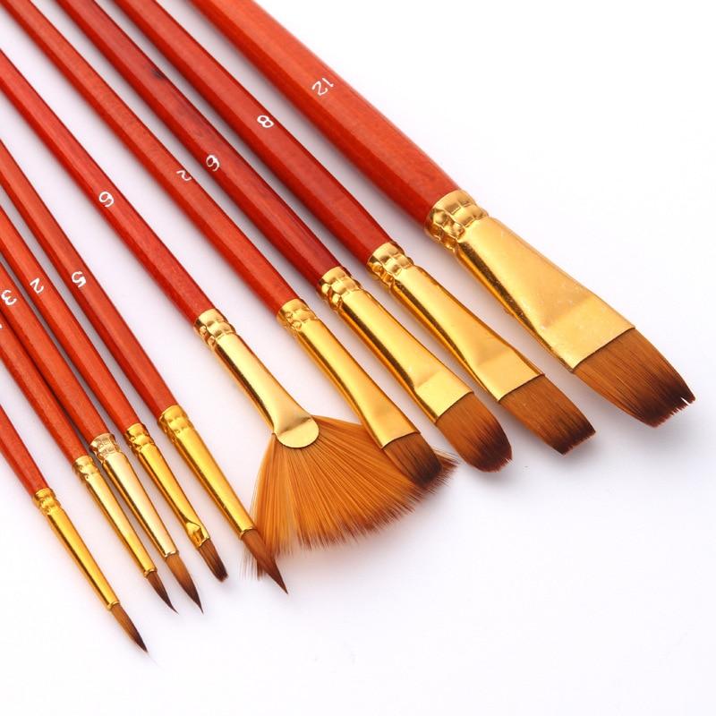 10pcs Paint Brushes Set Nylon Hair Painting Brush Short Rod Oil Acrylic Brush Watercolor Pen Professional Art Supplies S1020