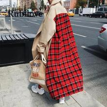 2020 Women's Casual Plaid Patchwork Long Sleeve Lapel Outwear Trench Duster Coat