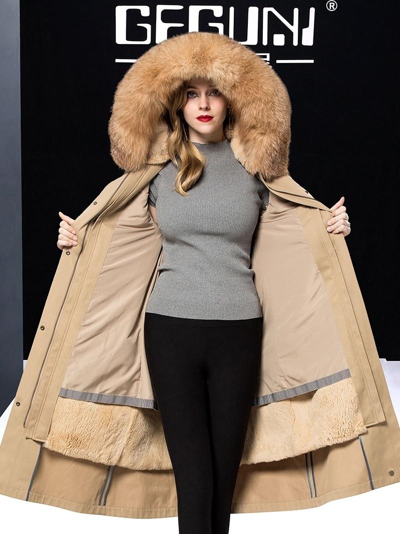 Coat Fur Real Female Real Rabbit Fur Liner Parka Women Clothes 2020 Winter Jacket Women Fox Fur Collar Warm Overcoat MY
