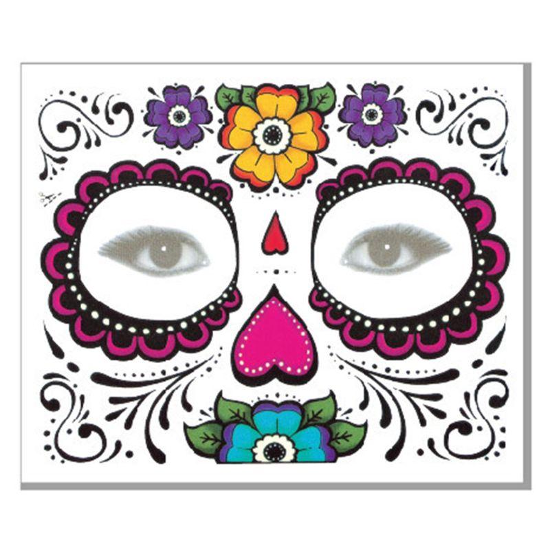 Halloween cara tatuajes temporales calcomanías Día de los muertos azúcar cráneo Floral esqueleto máscara Unisex mexicano fiesta Favor suministros - 5