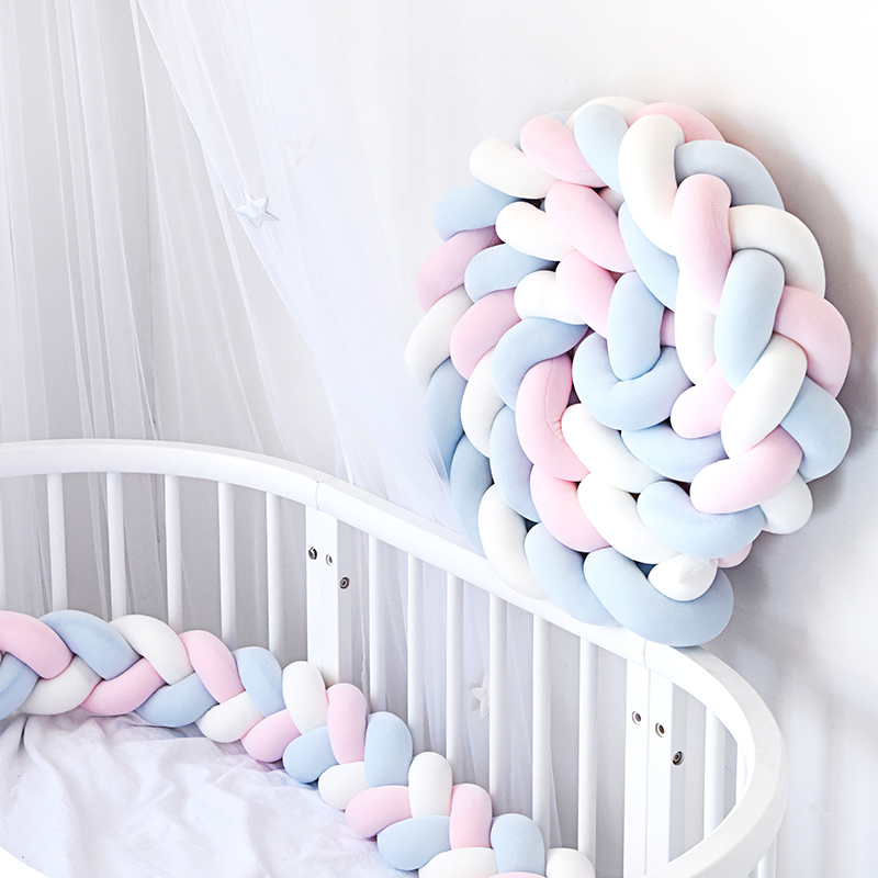 2M Braided Crib Bumper Long Knotted Braid Pillow Baby Blanket Soft Long Braided Weave Strips Nursery Decor Baby Bedding Wrapping