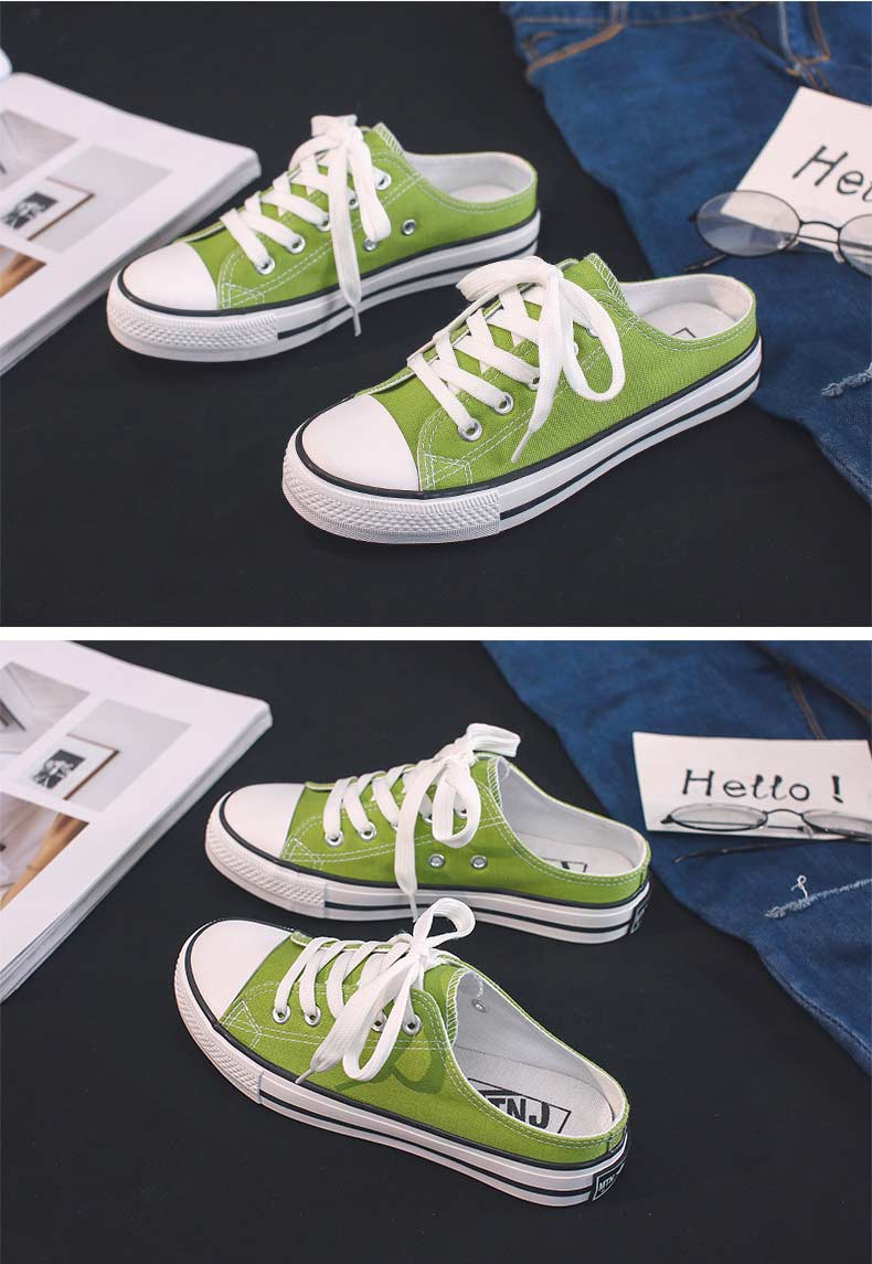Casual half-drag canvas shoes woman 2019 new fashion solid sneakers women vulcanized shoes lace-up no heel lazy shoes flats (19)