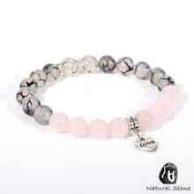 Для женщин и девочек из натурального камня розовый браслет пурпурных