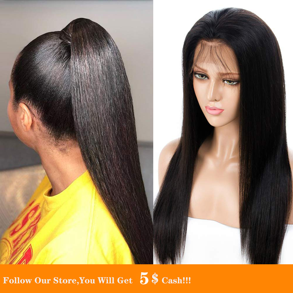 13x4 Synthetic Lace Front Wig Transparent Long Black Silky Straight Heat Resistant Fiber Braided Wig Free Part For Women Wigs