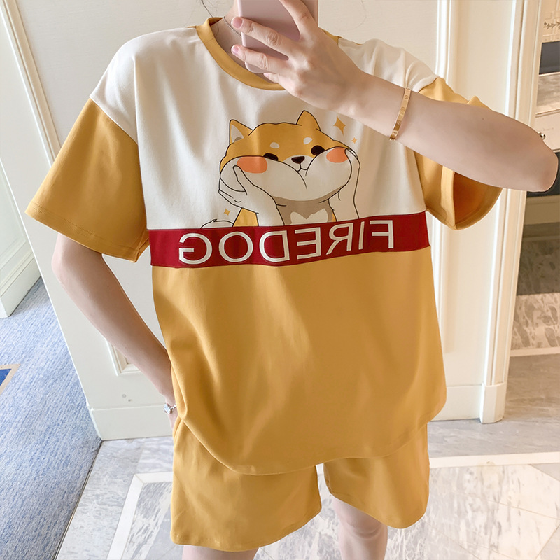 QWEEK Pijama Mujer Cotton Sleepwear Pyjama Femme Dog Print Kawaii Pajamas Cute Casual Loose Lounge Wear Summer Home Clothes