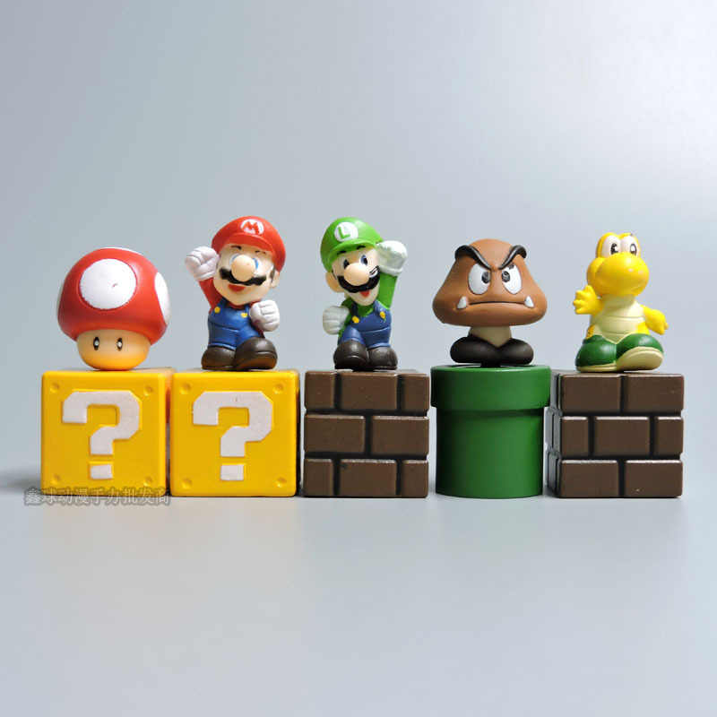 5pcs Set Super Mario Bros Bundle Blocks Figures Mario Goomba Luigi