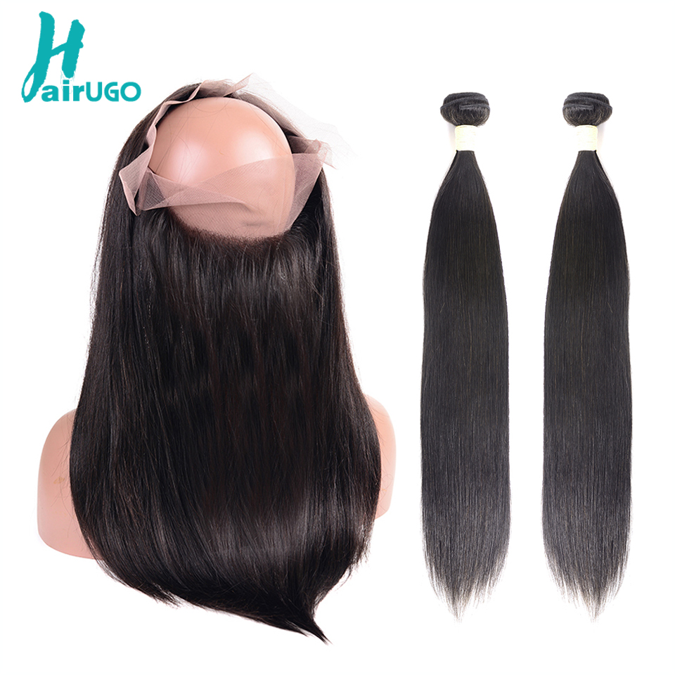 HairUGo Straight Human Hair Bundles With Closure Peruvian Hair Bundles With 360 Lace Frontal Closure Double Weft Remy Hair Weave
