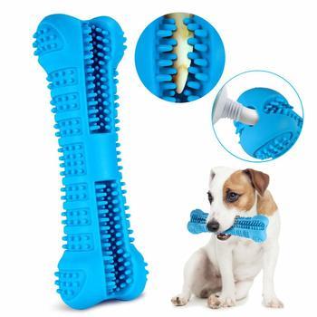 Dog Puppy szczoteczka do zębów gumowa zabawka dla psa dla ząbkujących szczeniąt Stick Chew zabawki dla zwierząt domowych czyszczenie zębów nietoksyczna naturalna opieka stomatologiczna dla psa w rozmiarze S M tanie i dobre opinie CN (pochodzenie) rubber Uniwersalny Blue Green pet toothbrush stick 10 5X3 7CM 14 5X4 7CM Small and Medium-size Dog