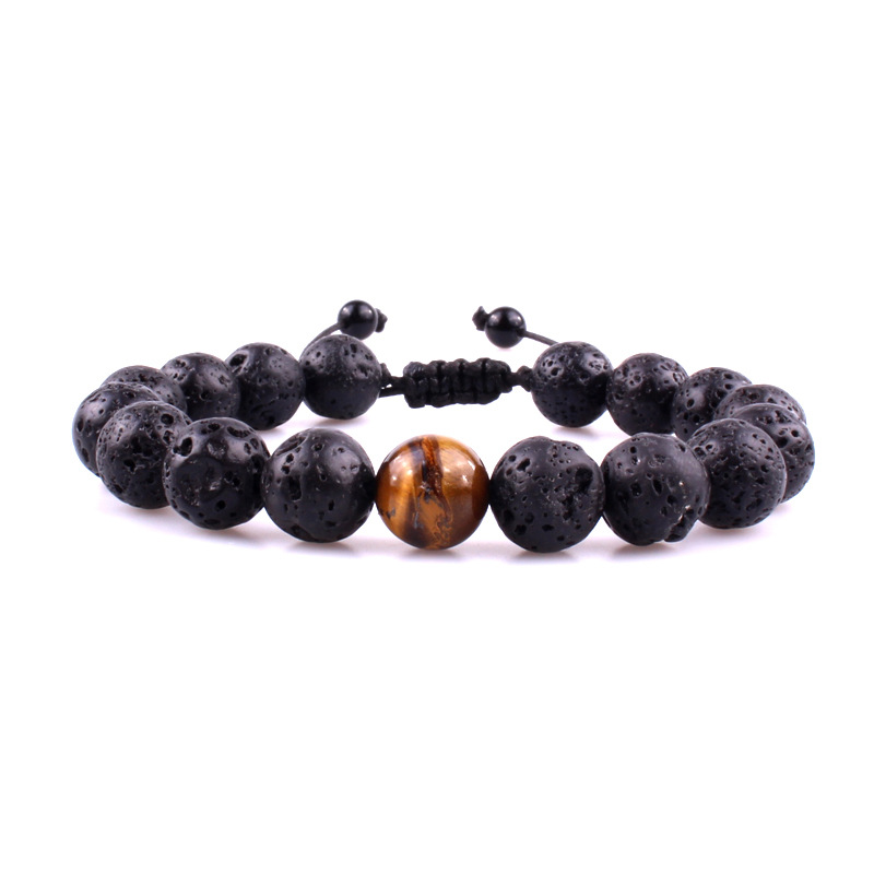 GVUSMIL Handmade Black Lava 8mm Beads Bracelet Jewelry Men Women Yoga 10mm Tiger Eyes Natural Stones Bracelets Jewelry
