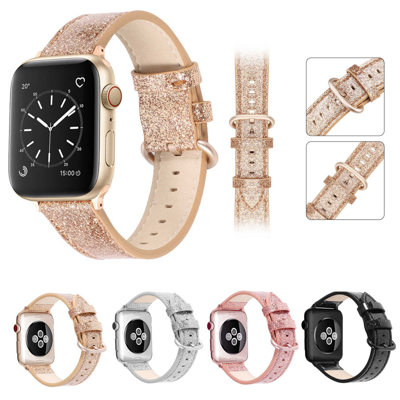 slim fit Loop for Apple Watch Leather Band 40mm 44mm for iwatch 38mm 42mm Strap series 5 4 3 2 1