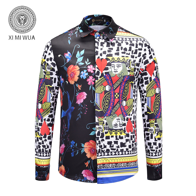 AliExpress Hot Selling Hot Sales Spring And Autumn MEN'S Long-sleeved Shirt Europe And America Creative Birds Floral-Print Spell
