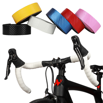 Road Bike Handlebar Strap Wear-resistant PU Leather Carbon Print Bicycle Bar Grips Wrap Tape Set Bicycle Accessories image