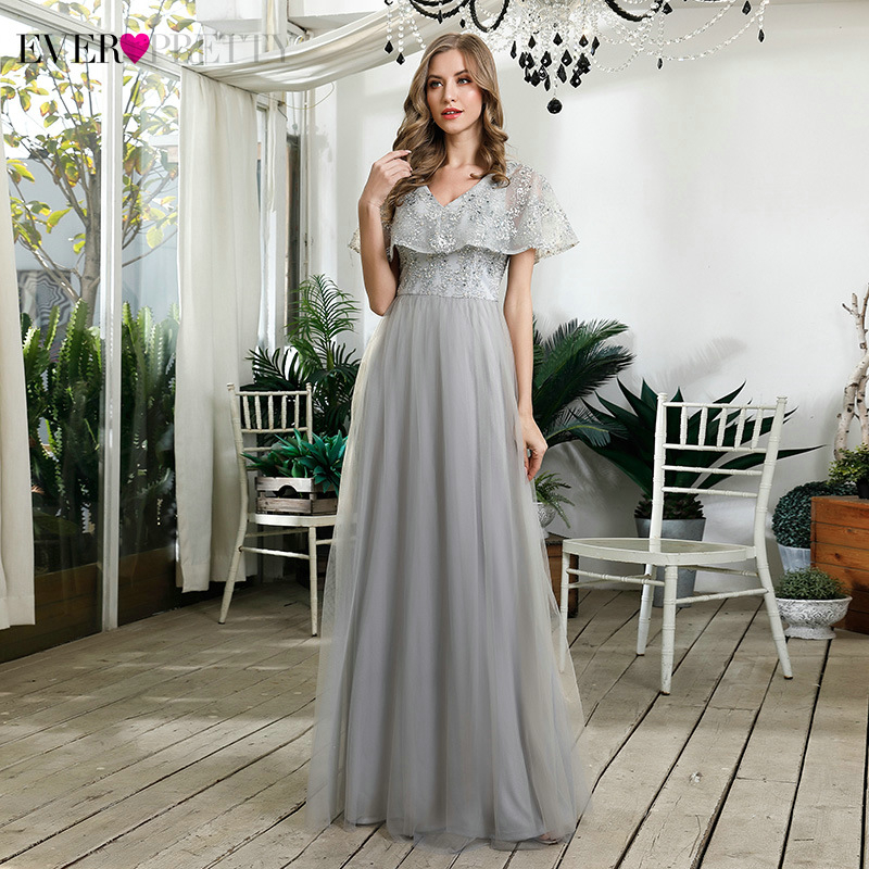 Elegant Grey Bridesmaid Dresses Ever Pretty A-Line Ruffles V-Neck Embroidery Sequined Tulle Wedding Party Gowns Robe Longue 2020