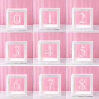 1 2 3 4 5 6 7 8 9 Digital transparente globo caja 1st decoración de fiesta de cumpleaños de los niños 2nd 3rd cumpleaños de niña y niño BabyShower de