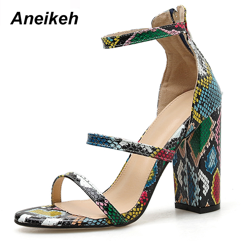 Aneikeh Summer Fashion Serpentine Gladiator Sandals Women Shoes Peep Toe Cover Heel High Heels Sandals Party Pumps Size 35-42