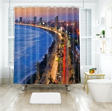 3d Seascape Pattern Bustling Viaduct City Shower Curtains Waterproof Thickened Bath for Bathroom Customizable