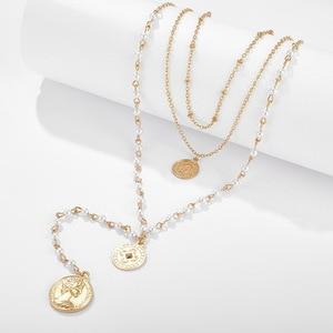 Image 4 - Модное многослойное ожерелье с имитацией жемчуга, креативное круглое ожерелье с длинными денежными средствами, подарок на вечеринку