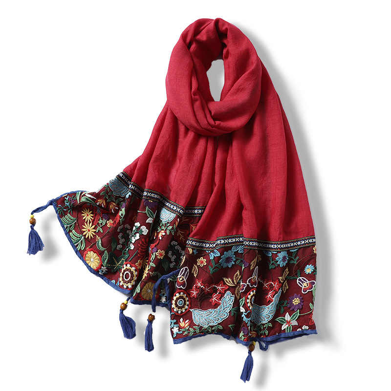 レース刺繍綿スカーフ女性 2020 ヴィンテージ花柄ショールとラップ固体タッセルパシュミナの女性のスカーフヒジャーブファム