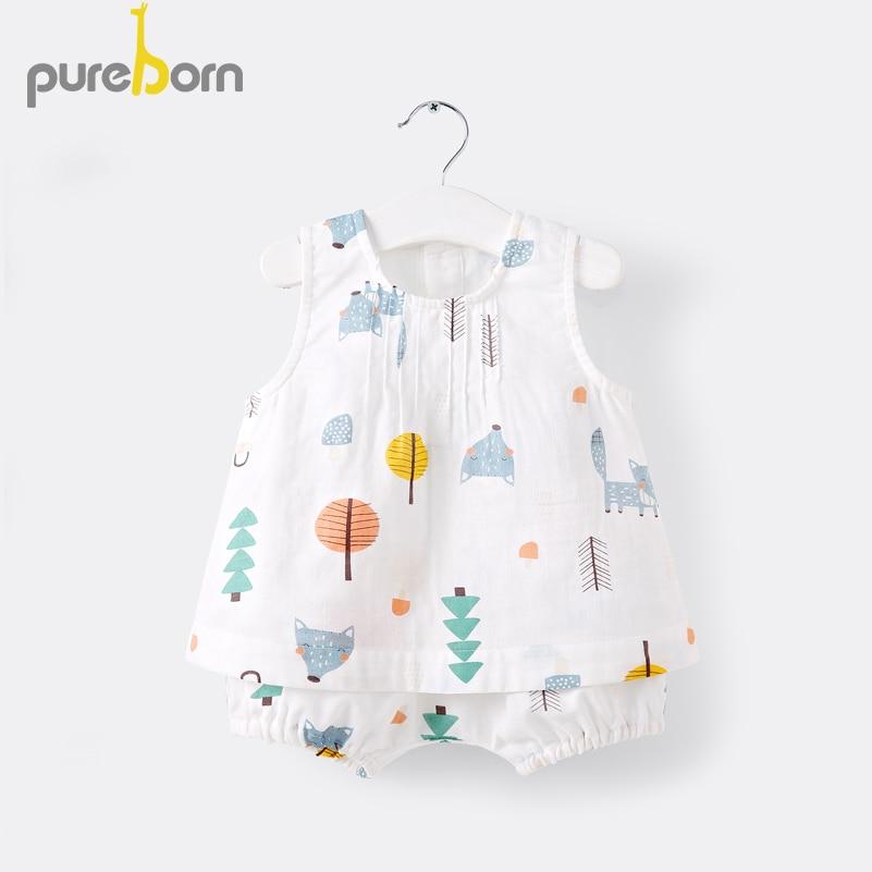 Pureborn Toddler 2Pcs Unisex Baby Clothing Set Summer Sleeveless Shirt And Shorts Cartoon Fox Muslin Cotton Outfit