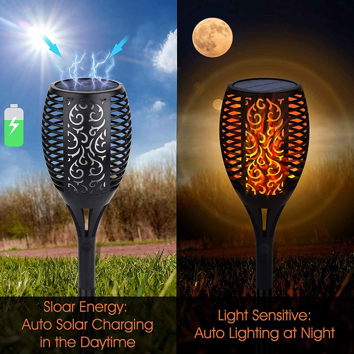 33/96 Led Solar Flame Lights Outdoor IP65 Waterdichte Led Solar Garden Light Flickering Zaklampen Binnenplaats Decoratie Gazon Lamp