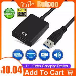 Image 1 - Cable adaptador de convertidor de Audio y vídeo USB 3,0 a HDMI hembra para Windows 7/8/10 PC