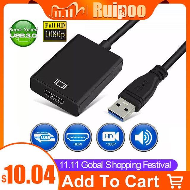 Cable adaptador de convertidor de Audio y vídeo USB 3,0 a HDMI hembra para Windows 7/8/10 PC