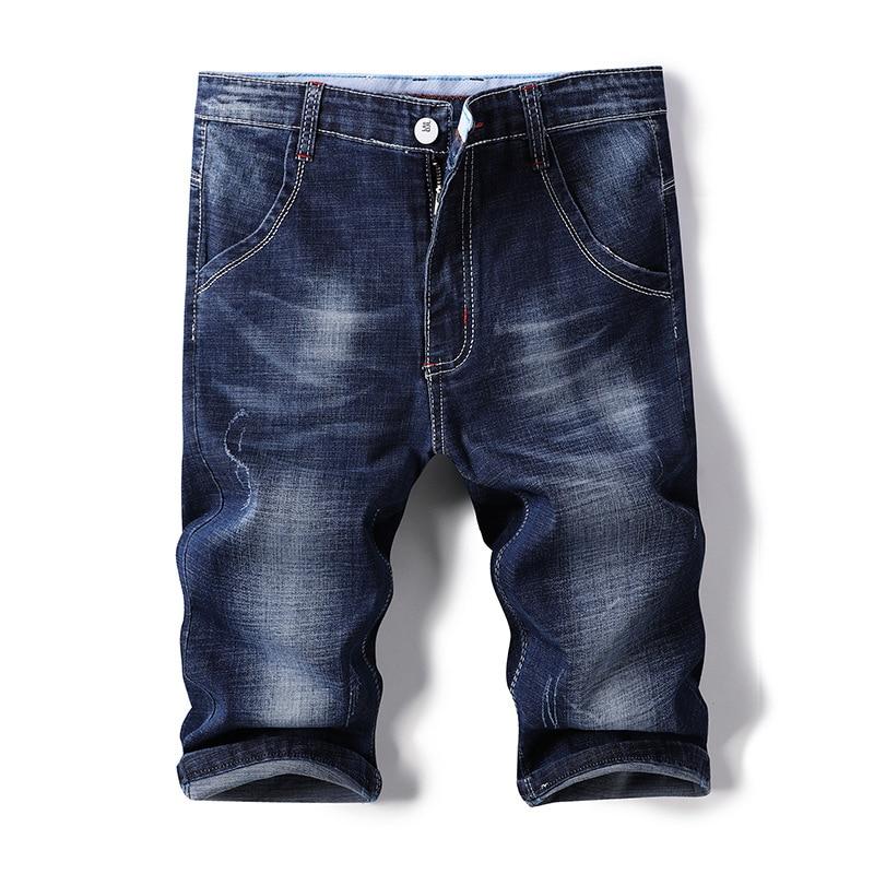 2018 Men Summer Denim Shorts Men's Straight-Cut Short Jeans Knee-length Denim Shorts Men's Trousers