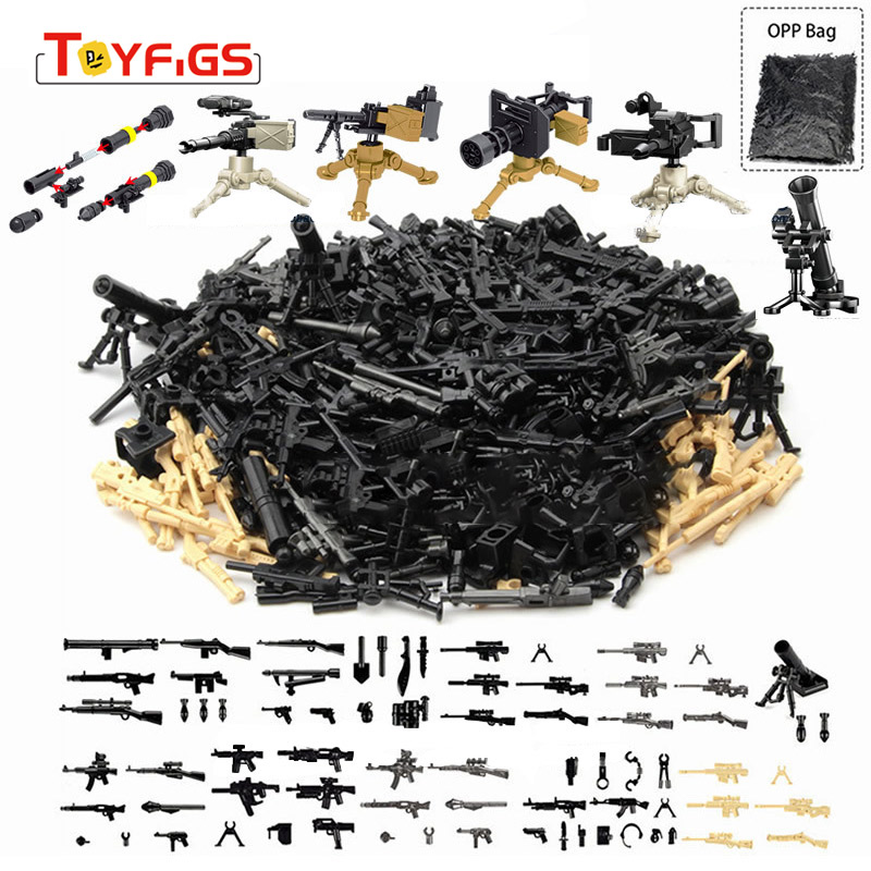 Legoinglys Military Series Building Block Brick Toys For Childrens City SWAT Police Gun Weapons Pack Army WW2 Weapon Accessories