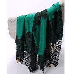 Oversize Lady Pashmina Wrap Cashmere Blend Shawls Green Cachecol Feminino Handmade Lace Mujer Bufanda Embroidery Beads Scarf