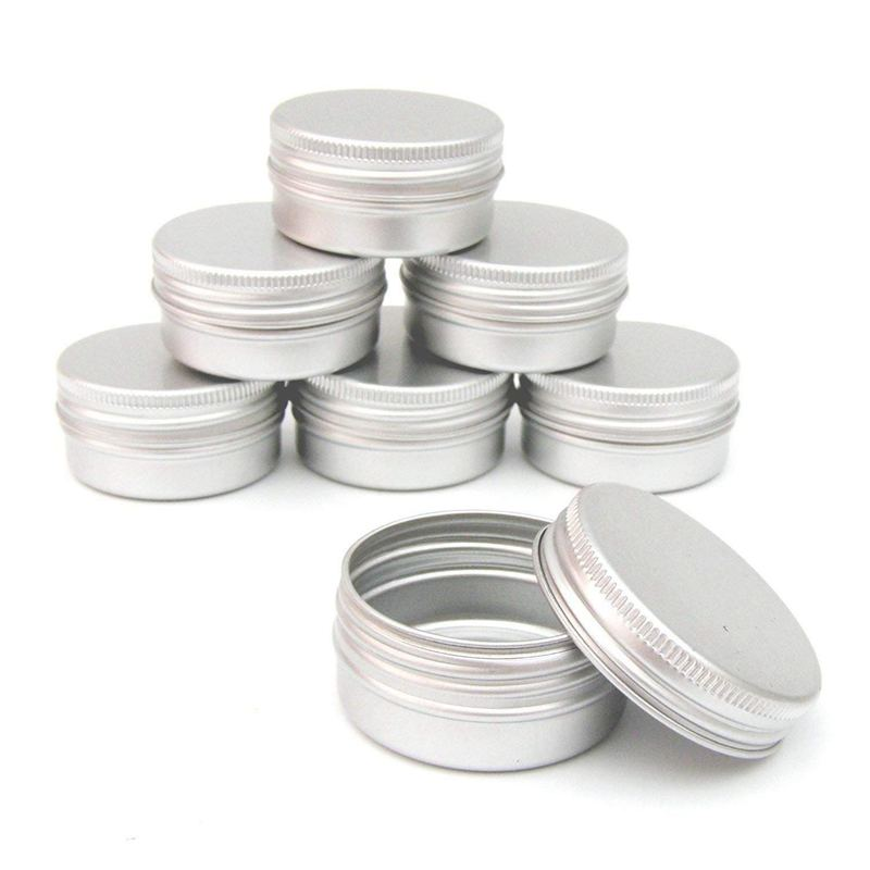 Flat Silver Metal Tins Jars Empty Slip Slide Round Containers With Tight Sealed Twist Screwtop Cover,5 Pcs