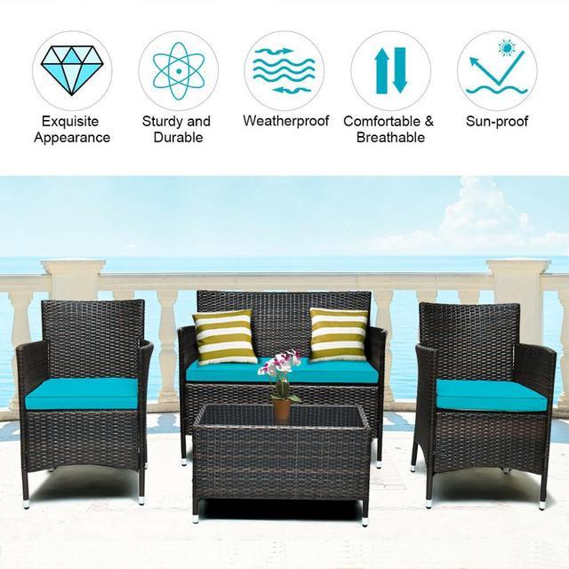 4PCS Rattan Patio Furniture Set 4