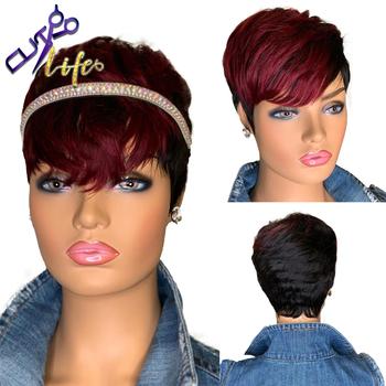Czerwony burgund 99J kolor Ombre krótki falista Bob fryzura Pixie pełna maszyna wykonana nie peruki typu Lace z ludzkich włosów z Bangs dla czarnych kobiet Remy tanie i dobre opinie DREAMING QUEEN HAIR CN (pochodzenie) Remy włosy Brazylijski włosy Średnia wielkość Średni brąz Ciemniejszy kolor tylko