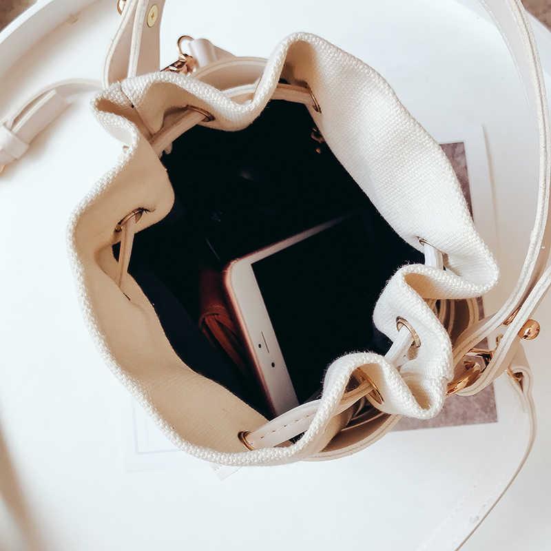 Сумка-мешок на шнурке для женщин 2019 Мини из искусственной кожи сумки через плечо женские сумки на плечо женские сумки чистый цвет