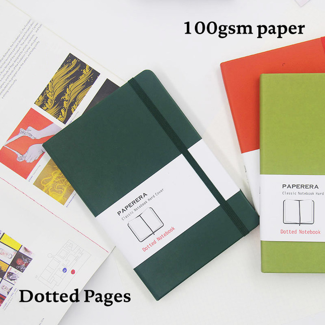 A5 Simple Classic Dotted Notebook Dot Grid Journal Hard Cover Elastic Band Travel Planner Diary
