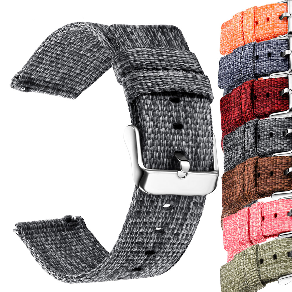 Nylon 18mm 20mm 22mm Watchband  For Samsung Galaxy Watch 46mm 42mm Gear S3 S2 Sport Watch Strap Replacement For Amazfit Bip