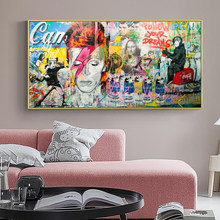 Modern Street Graffiti Art Combination Wall Picture Poster and Print on the Canvas Painting for Kids Room Home Cuadros Decor
