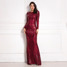 Burgundy Sequined Maxi Dress Full Sleeved O Neck Stretchy Autumn Winter Long Evening Party