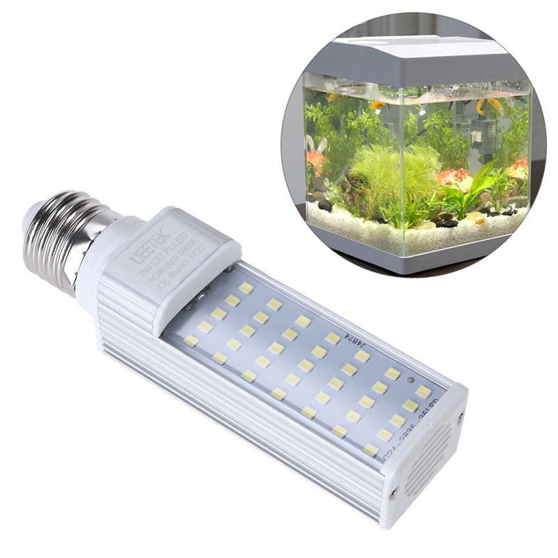 UEETEK 7W E27 LED Energy Saving Lamp To Fit All Fish Pod And Fish Box Aquariums White Fish Tank Horizontal Plug Corn Light
