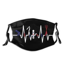 Unisex Face Mouth Mask With Replaceable Filters Barber Heartbeat Graphic Hairstylist Scissor Razor Gift Design