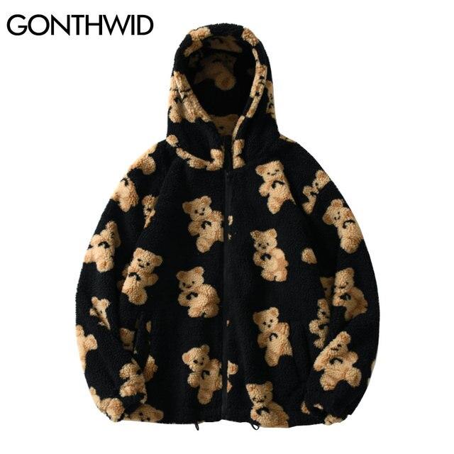 GONTHWID Fleece Hooded Jackets Streetwear Casual Harajuku Hip Hop Men Women Fashion Bear Print Full Zip Hooded Coat Tops Outwear 1